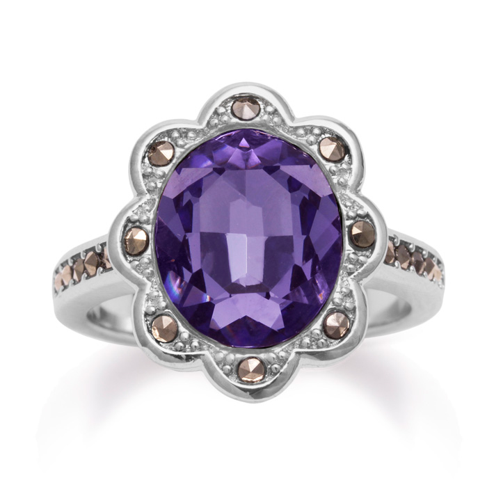 4ct Crystal Tanzanite and Marcasite Halo Ring