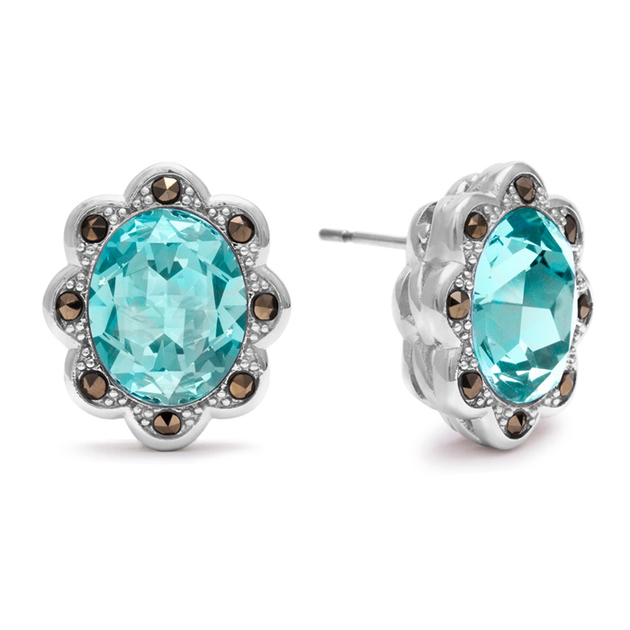 4 Carat Oval Shape Crystal Aquamarine & Marcasite Earrings by Sup