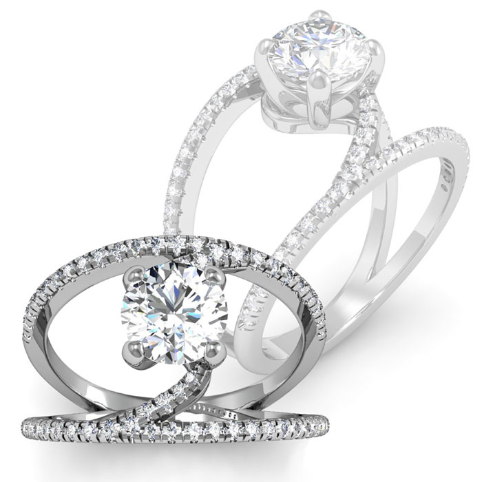 1.50 Carat Open Band Engagement Ring in 14K White Gold (4.6 g), H