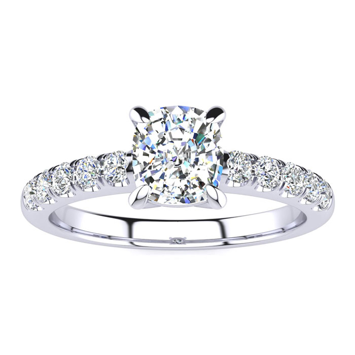 1 1/3 Carat Traditional Diamond Engagement Ring w/ 1 Carat Center Cushion Cut Solitaire in White Gold (4.5 g) (I-J, I1-I2 Clarity Enhanced) by