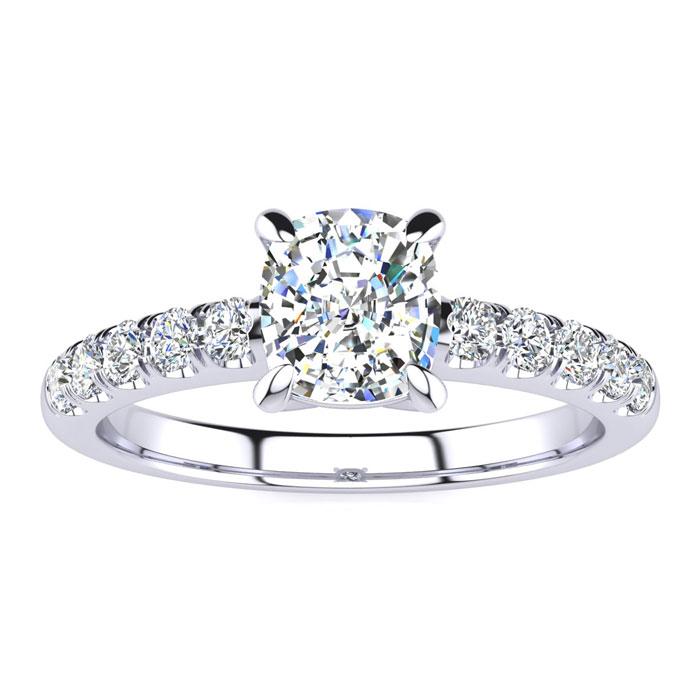 1 1/3 Carat Traditional Diamond Engagement Ring w/ 1 Carat Center