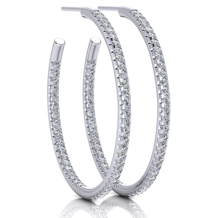 14K White Gold (5 g) 1 Carat Diamond Three Quarter Hoop Earrings,