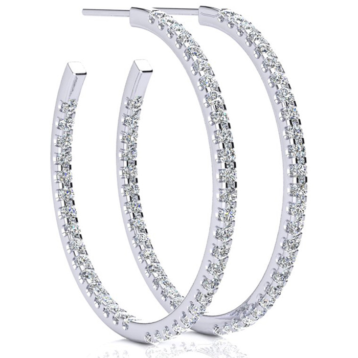 14K White Gold (6 g) 2 Carat Diamond Three Quarter Hoop Earrings,