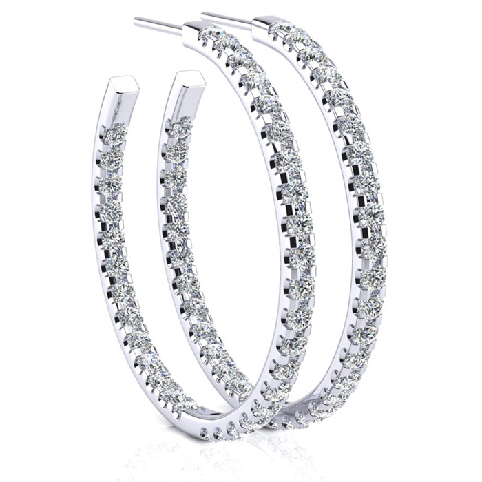 14K White Gold (6.5 g) 3 Carat Diamond Three Quarter Hoop Earring