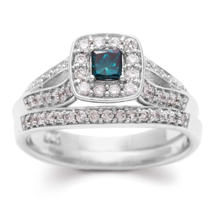Image of .60ct Blue and White Diamond Bridal Set
