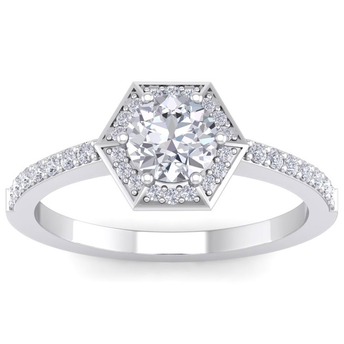 1 Carat Vintage Inspired Halo Diamond Engagement Ring in 14K Whit