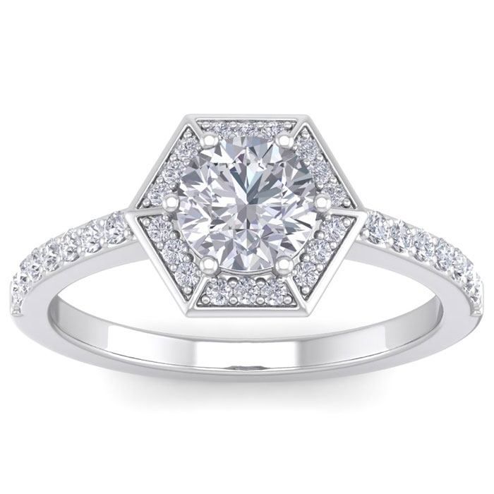 1.5 Carat Vintage Inspired Halo Diamond Engagement Ring in 14K Wh