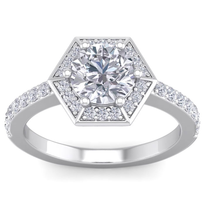 2 Carat Vintage Inspired Halo Diamond Engagement Ring in 14K Whit