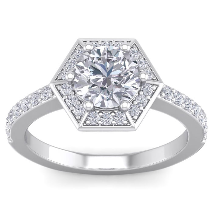 2.5 Carat Vintage Inspired Halo Diamond Engagement Ring in 14K Wh