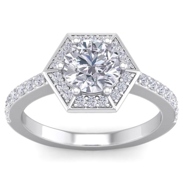 2.5 Carat Vintage Inspired Halo Diamond Engagement Ring in 14K White Gold (5.8 g) (I-J, I1-I2 Clarity Enhanced) by SuperJeweler