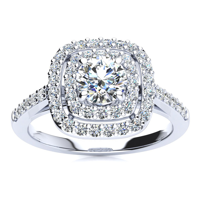 1 Carat Double Halo Diamond Engagement Ring in 14k White Gold (4