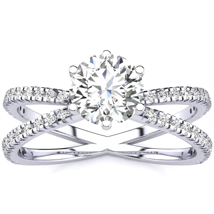 Contemporary 1.25 Carat Engagement Ring w/ 48 Side Diamonds in 14K White Gold (3.5 g) (I-J, I1-I2 Clarity Enhanced) by SuperJeweler