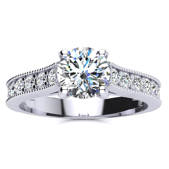 1.5 Carat Round Solitaire Engagement Ring w/ 1 Carat Center Diamond in 14K White Gold (3.7 g) (I-J, I2 Clarity Enhanced) by SuperJeweler