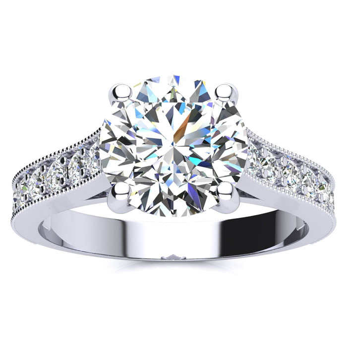 2 Carat Round Diamond Solitaire Engagement Ring w/ 1.5 Carat Cent
