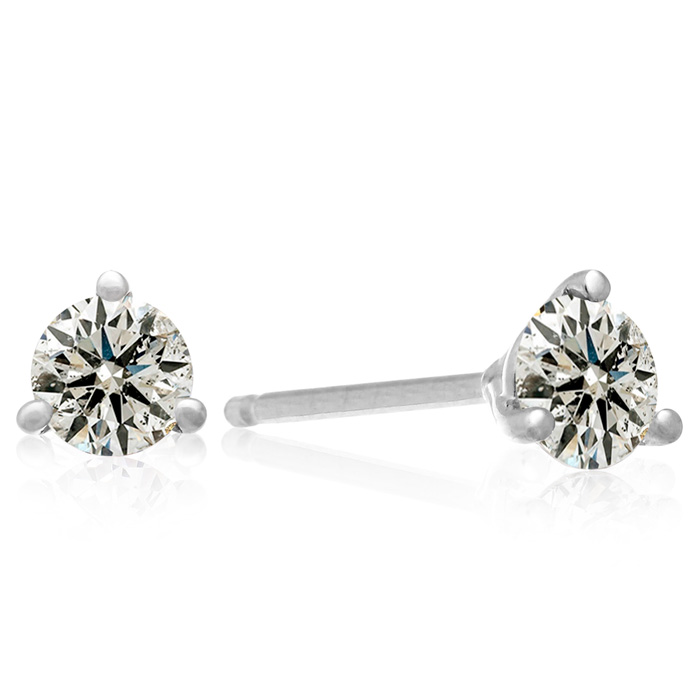 Almost 3/4 Carat Round Diamond Stud Earrings in 14k White Gold (1