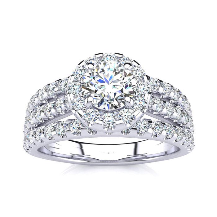 1.5 Carat Round Halo Diamond Engagement Ring in 14k White Gold (4