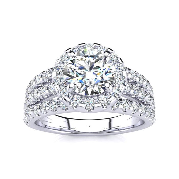 2 Carat Round Halo Diamond Engagement Ring in 14k White Gold (5.5