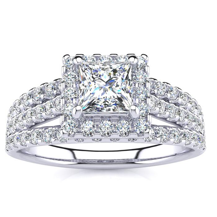 1 Carat Princess Cut Halo Diamond Engagement