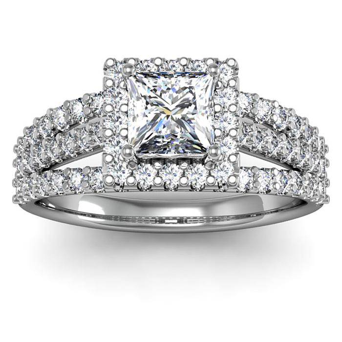 1.5 Carat Elegant Princess Cut Halo Diamond Engagement Ring in 14K White Gold (5 g) (I-J, I1-I2 Clarity Enhanced) by SuperJeweler