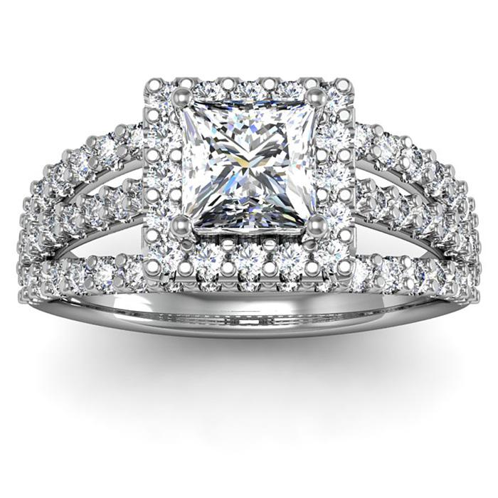 2.00 Carat Elegant Princess Cut Diamond Halo