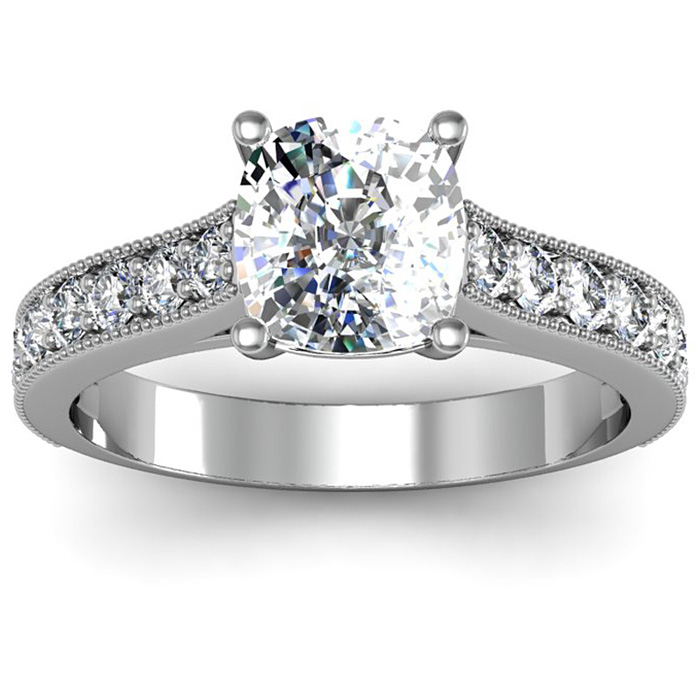 2.5 Carat Solitaire Engagement Ring w/ 2 Carat Cushion Cut Center