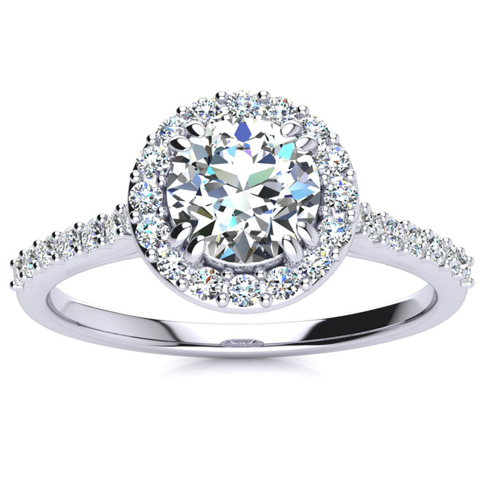1 Carat Round Halo Diamond Engagement Ring in 14K White Gold (3.5