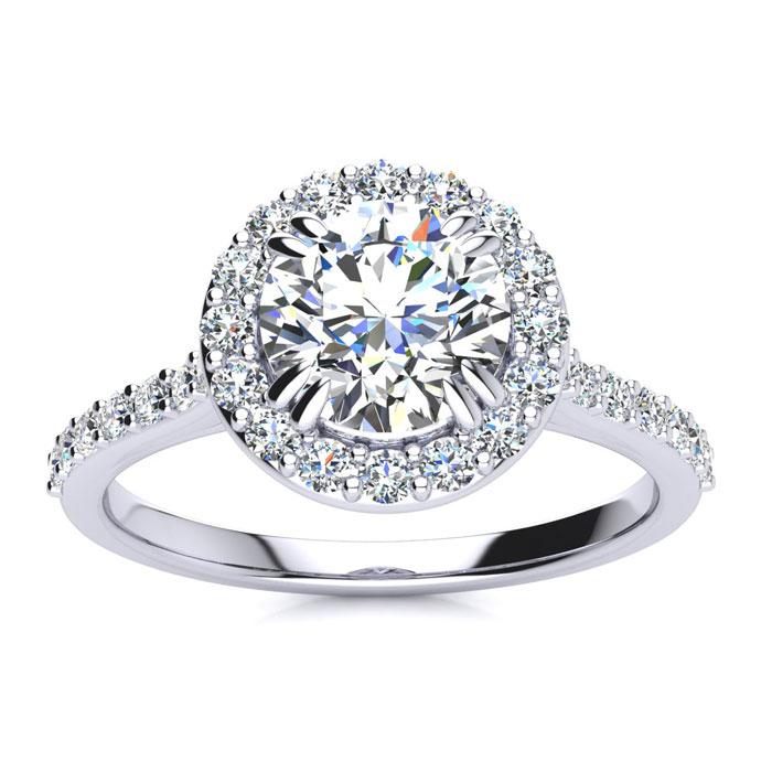 1.25 Carat Halo Diamond Engagement Ring in 14k White Gold (3.7 g)