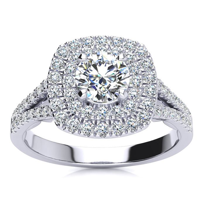 1 Carat Double Halo Diamond Engagement Ring in 14k White Gold (5.