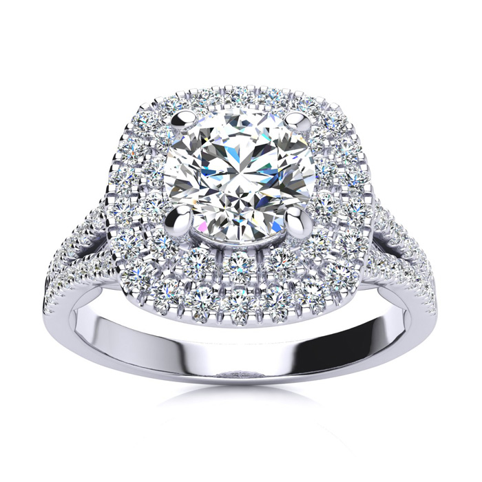 1.5 Carat Double Halo Diamond Engagement Ring in 14k White Gold (