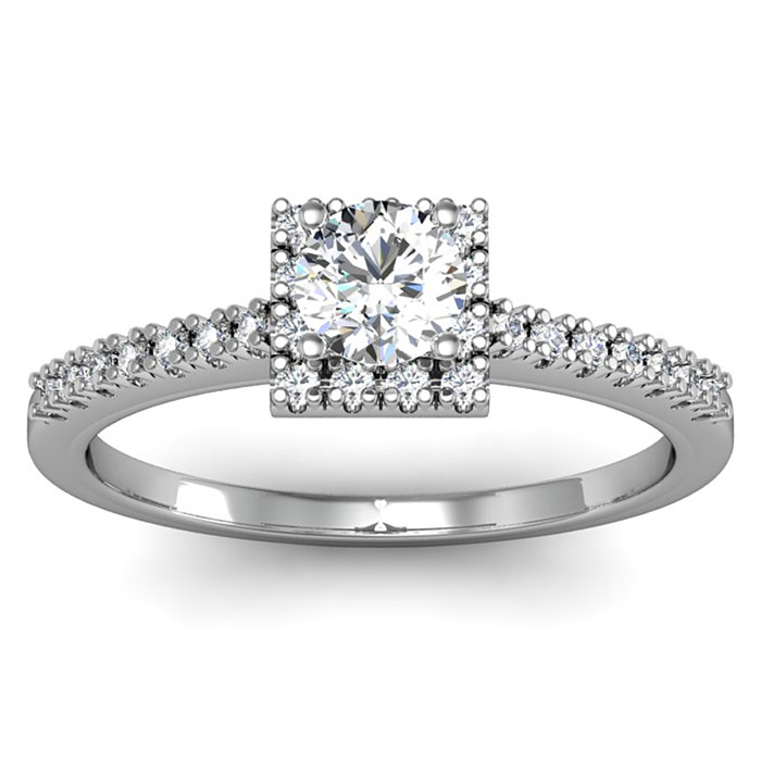 1/2 Carat Square Halo, Round Diamond Engagement Ring in 14k White Gold (2.9 g),  by SuperJeweler