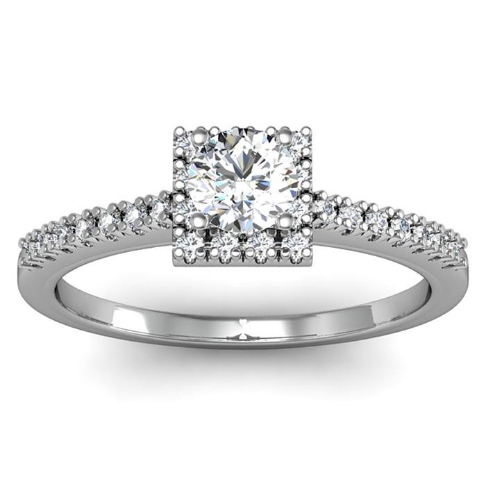 1/2 Carat Square Halo, Round Diamond Engagement Ring in 14k White