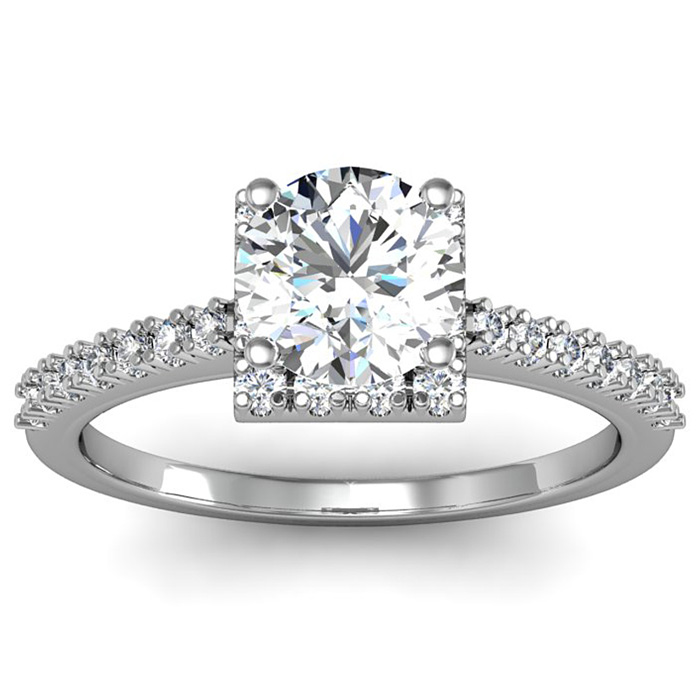 1.40 Carat Square Halo, Round Diamond Engagement Ring in 14k White Gold (3.2 g),  by SuperJeweler