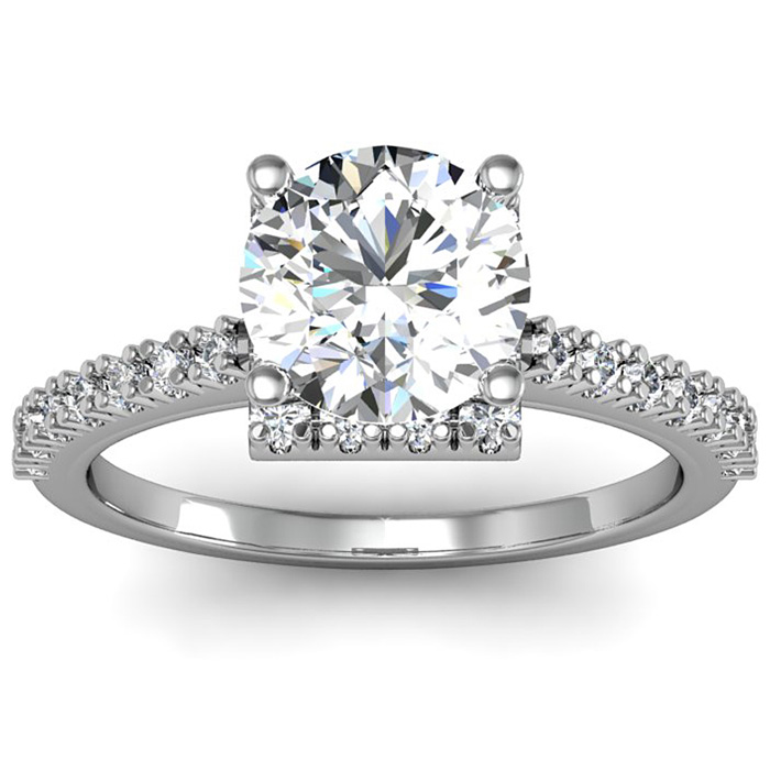 2 Carat Square Halo, Round Diamond Engagement Ring in 14k White G