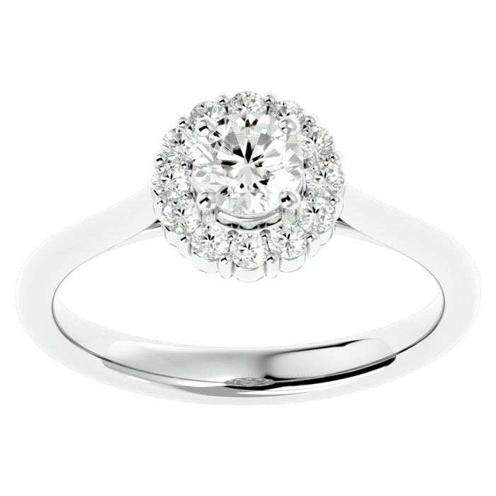 3/4 Carat Halo Diamond Engagement Ring in 14k White Gold (3.5 g),  by SuperJeweler
