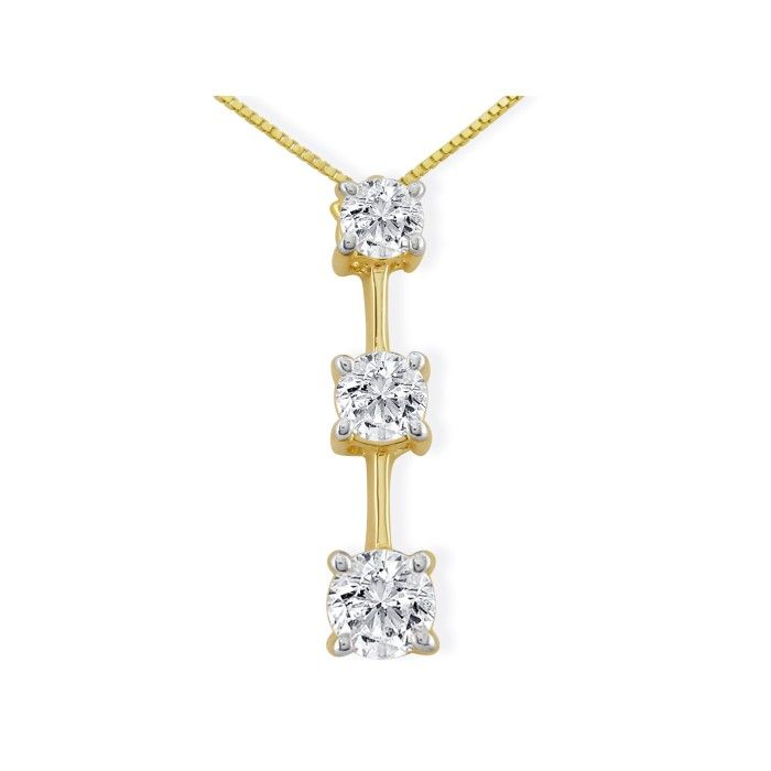 , Large 1 Carat Three Diamond Pendant Necklace in 14k Yellow Gold