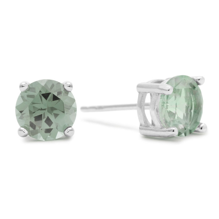 2 Carat Round Green Amethyst Earrings in Sterling Silver by Super