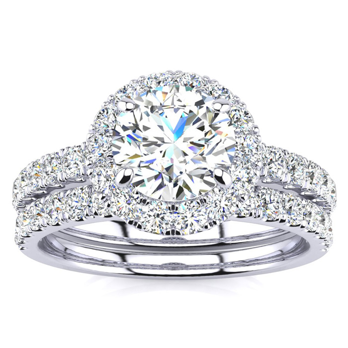 2 Carat Round Floating Halo Diamond Bridal Engagement Ring Set in