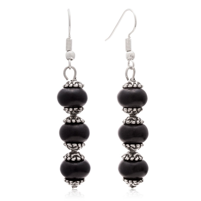 Trendy Three Stone Black Onyx Drop Dangle Earrings by SuperJewele