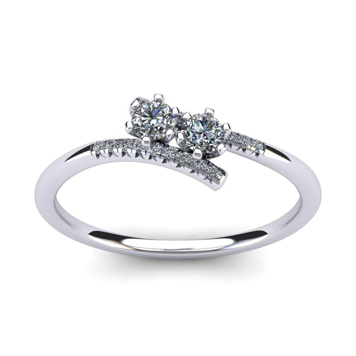 1/4 Carat Two Stone Diamond Ring in 14K White Gold (1.8 g), I/J by SuperJeweler