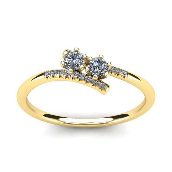 1/4 Carat Two Stone Diamond Ring in 14K Yellow Gold (1.8 g), I/J