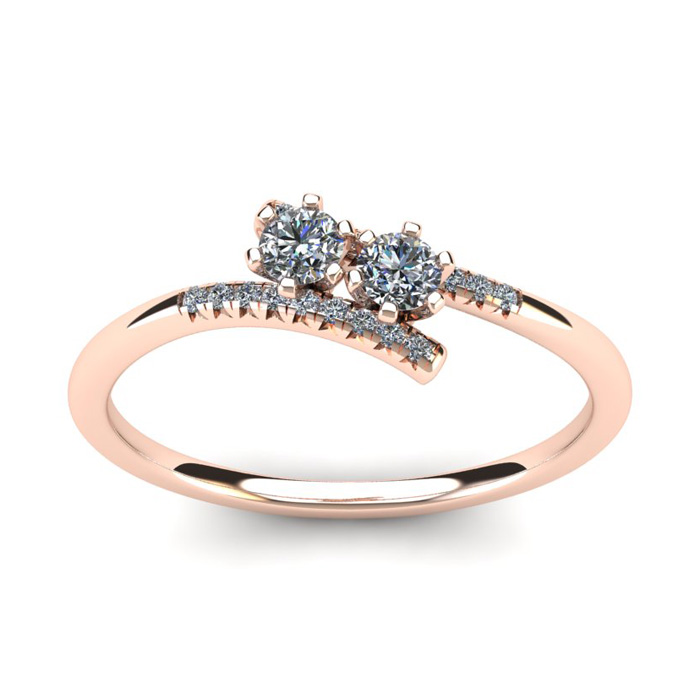 1/4 Carat Two Stone Diamond Ring in 14K Rose Gold (1.8 g), I/J by