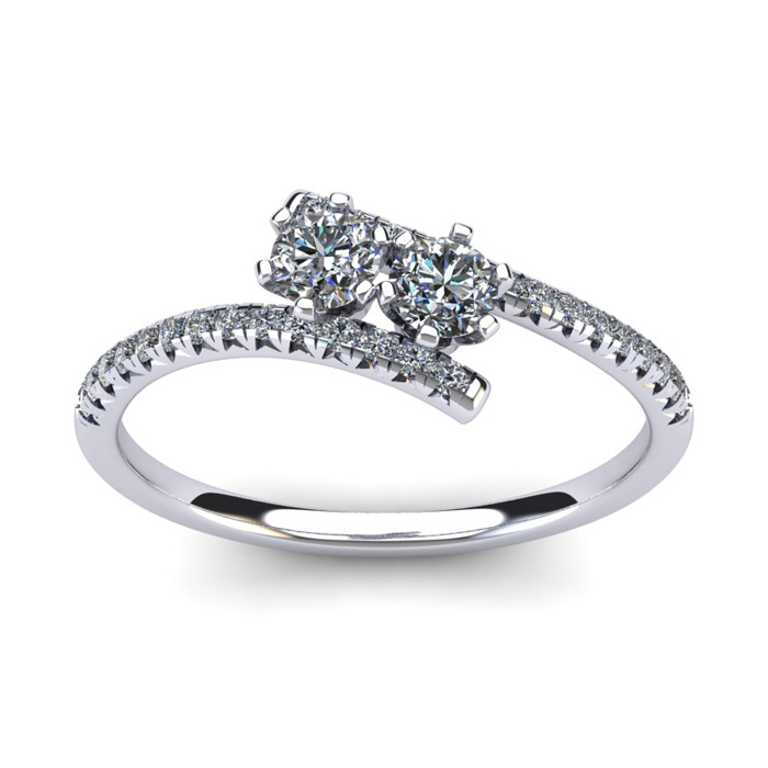 1/2 Carat Two Stone Diamond Ring in 14K White Gold (1.9 g), I/J b