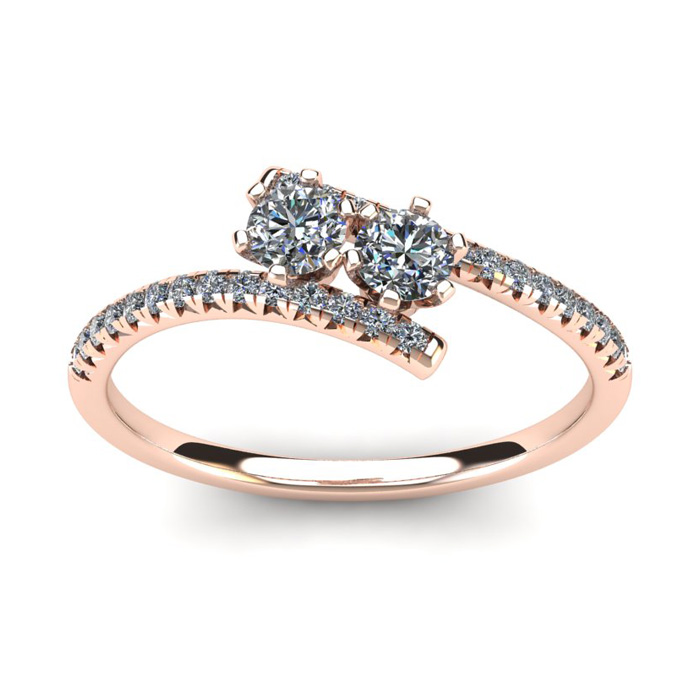 1/2 Carat Two Stone Diamond Ring in 14K Rose Gold (1.9 g),  by SuperJeweler