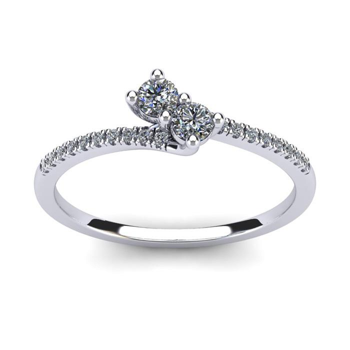 1/4 Carat Two Stone Diamond Bonded Love Ring in 14K White Gold (1