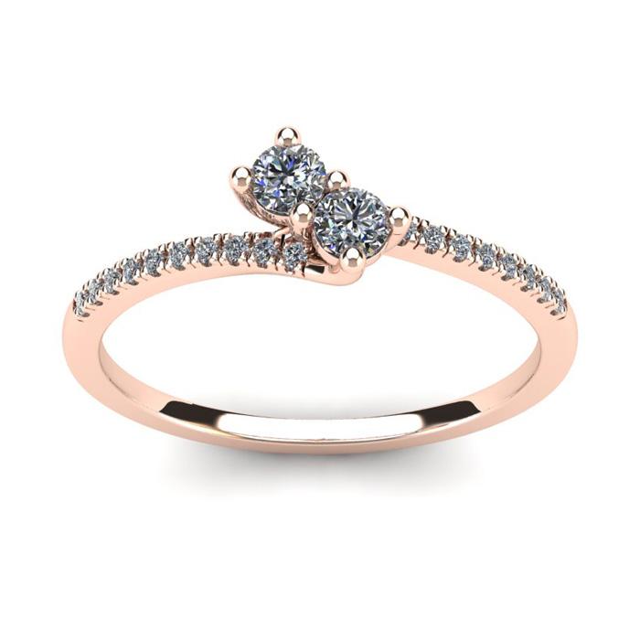 1/4 Carat Two Stone Diamond Bonded Love Ring in 14K Rose Gold (1.