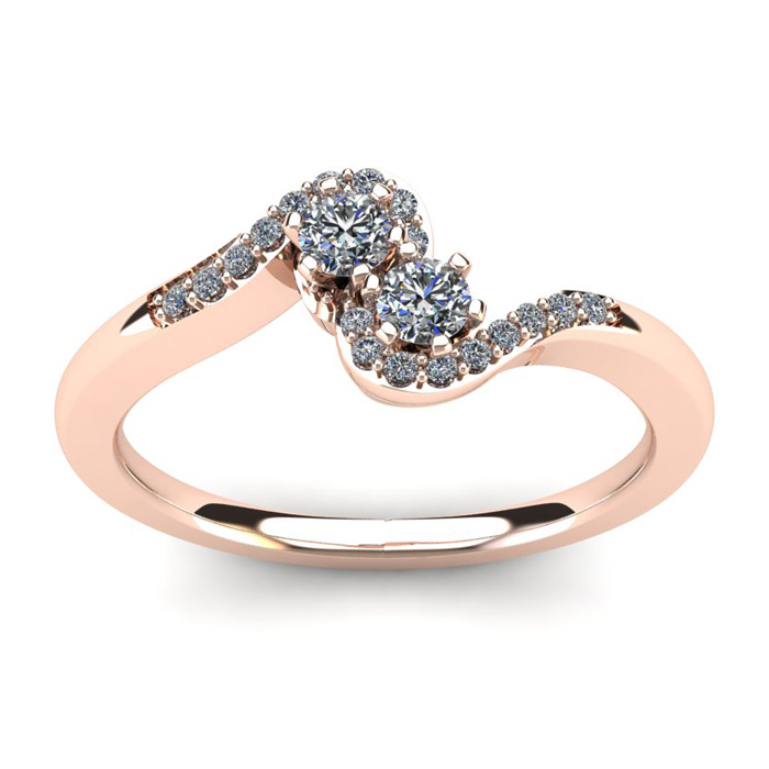 1/4 Carat Two Stone Diamond Swirl Ring in 14K Rose Gold (3.5 g), I/J by SuperJeweler