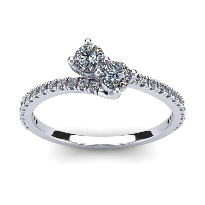 1/2 Carat Two Stone Diamond Bonded Love Ring in 14K White Gold (1.9 g), I/J by SuperJeweler