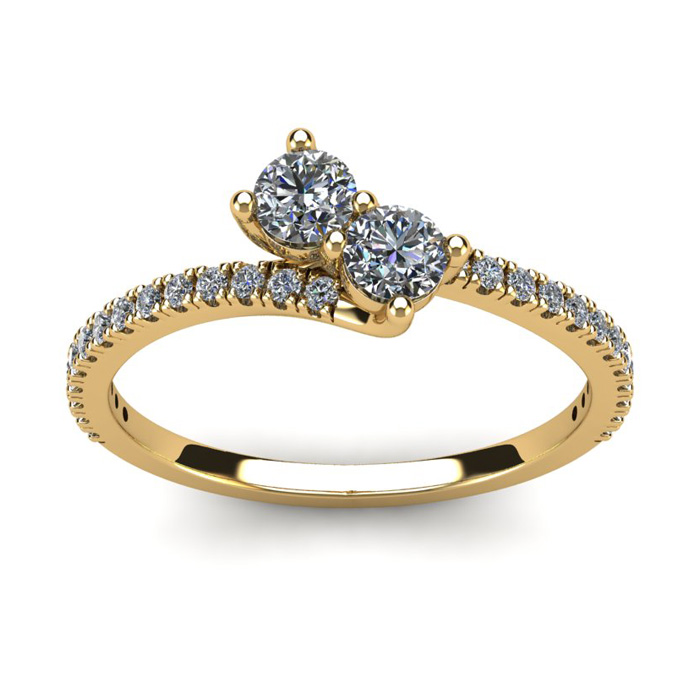 1/2 Carat Two Stone Diamond Bonded Love Ring in 14K Yellow Gold (1.9 g), I/J by SuperJeweler