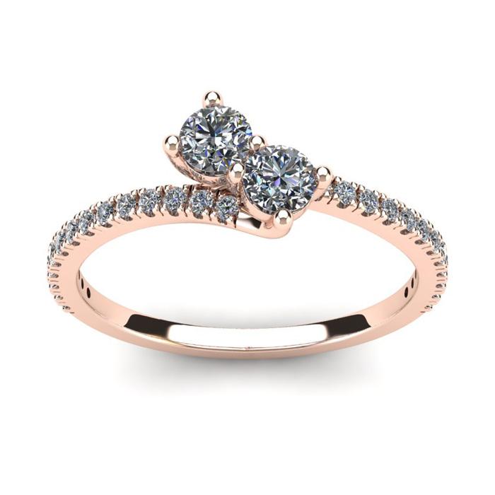 1/2 Carat Two Stone Diamond Bonded Love Ring in 14K Rose Gold (1.