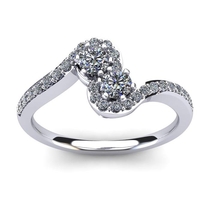 1/2 Carat Two Stone Diamond Swirl Ring in 14K White Gold (3.8 g),